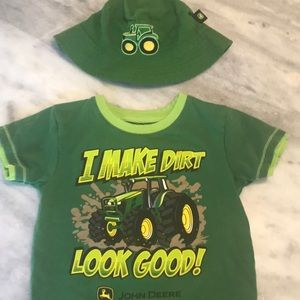 John Deere 2T t shirt with matching hat